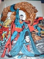 0074g.superman vs fantastic four Comic Art